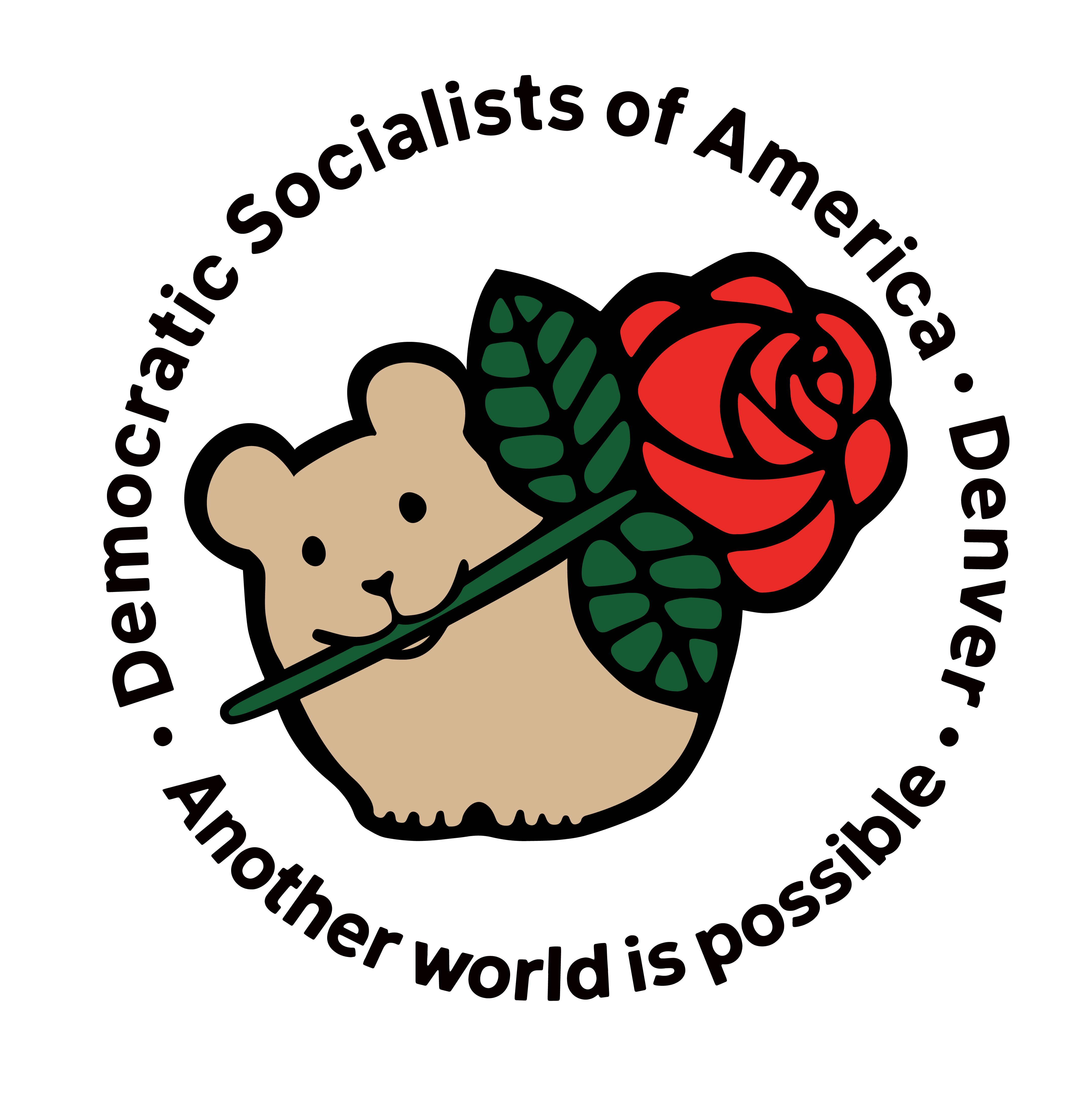 The Denver DSA logo: a drawing of a pika with a rose in its mouth, with text 'Democratic Socialists of America - Denver - Another world is possible